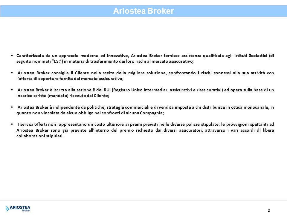 2 Ariostea Broker Caratterizzata da un approccio moderno ed innovativo, Ariostea Broker fornisce assistenza qualificata agli Istituti Scolastici (di seguito nominati I.S.) in materia di trasferimento dei loro rischi al mercato assicurativo; Ariostea Broker consiglia il Cliente nella scelta della migliore soluzione, confrontando i rischi connessi alla sua attività con lofferta di coperture fornita dal mercato assicurativo; Ariostea Broker è iscritta alla sezione B del RUI (Registro Unico Intermediari assicurativi e riassicurativi) ed opera sulla base di un incarico scritto (mandato) ricevuto dal Cliente; Ariostea Broker è indipendente da politiche, strategie commerciali e di vendita imposte a chi distribuisce in ottica monocanale, in quanto non vincolata da alcun obbligo nei confronti di alcuna Compagnia; I servizi offerti non rappresentano un costo ulteriore ai premi previsti nelle diverse polizze stipulate: le provvigioni spettanti ad Ariostea Broker sono già previste allinterno del premio richiesto dai diversi assicuratori, attraverso i vari accordi di libera collaborazioni stipulati.