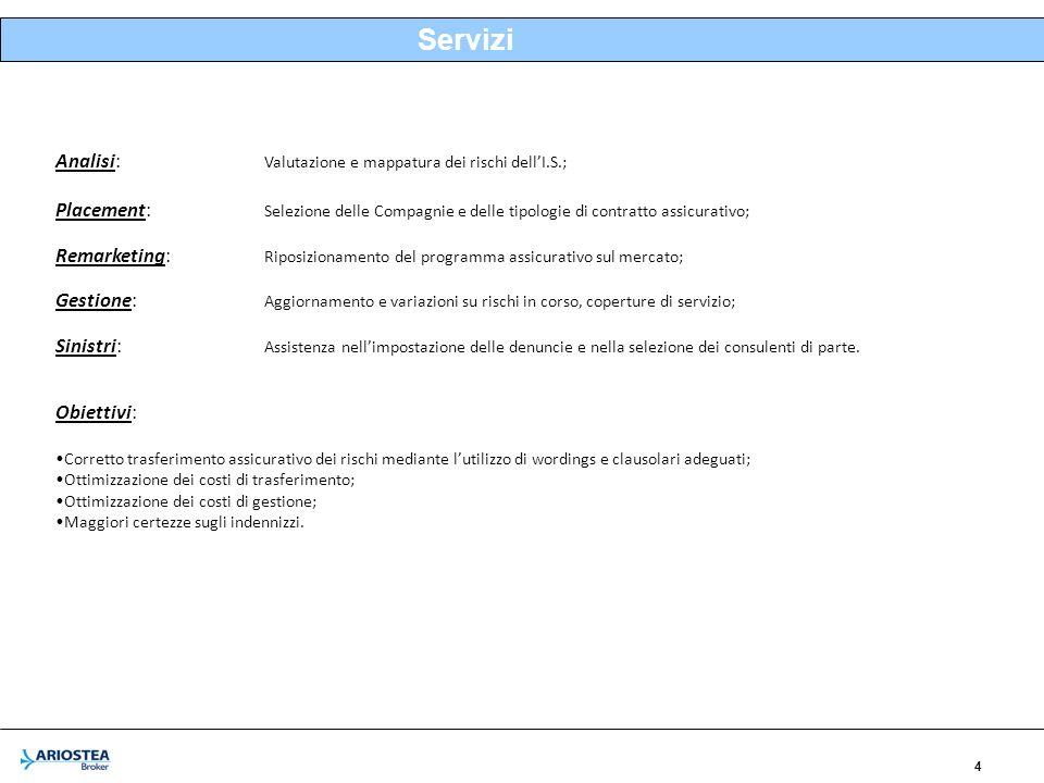 4 Servizi Analisi: Valutazione e mappatura dei rischi dellI.S.; Placement: Selezione delle Compagnie e delle tipologie di contratto assicurativo; Rema