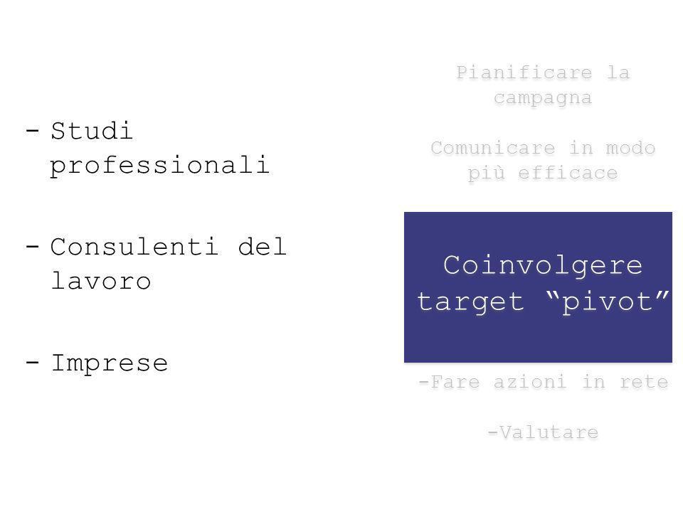 Pianificare la campagna Comunicare in modo più efficace Coinvolgere target pivot -Fare azioni in rete -Valutare Pianificare la campagna Comunicare in modo più efficace Coinvolgere target pivot -Fare azioni in rete -Valutare -Studi professionali -Consulenti del lavoro -Imprese