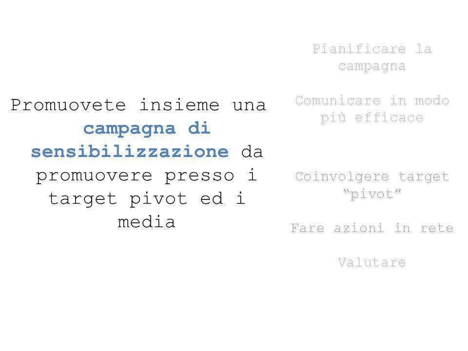 Promuovete insieme una campagna di sensibilizzazione da promuovere presso i target pivot ed i media Pianificare la campagna Comunicare in modo più efficace Coinvolgere target pivot Fare azioni in rete Valutare Pianificare la campagna Comunicare in modo più efficace Coinvolgere target pivot Fare azioni in rete Valutare
