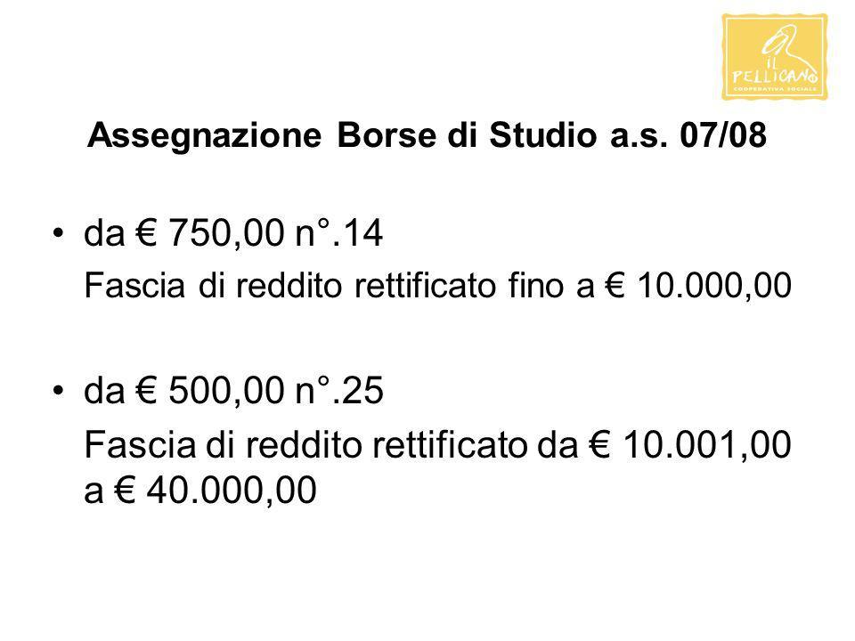 Assegnazione Borse di Studio a.s. 07/08 da 750,00 n°.14 Fascia di reddito rettificato fino a 10.000,00 da 500,00 n°.25 Fascia di reddito rettificato d