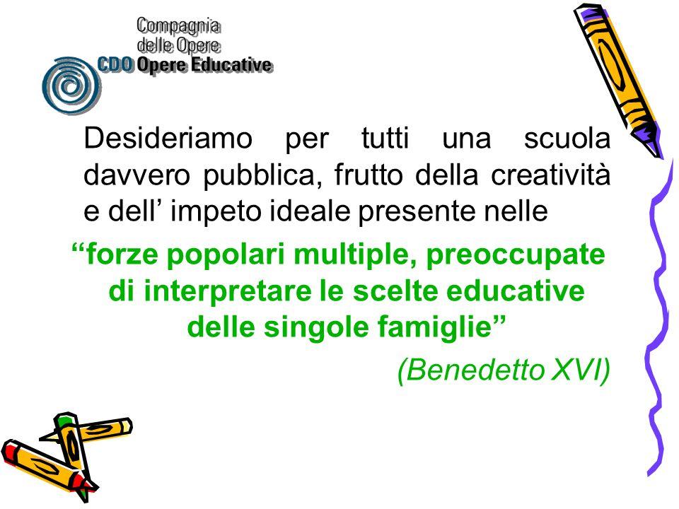 Desideriamo per tutti una scuola davvero pubblica, frutto della creatività e dell impeto ideale presente nelle forze popolari multiple, preoccupate di interpretare le scelte educative delle singole famiglie (Benedetto XVI)