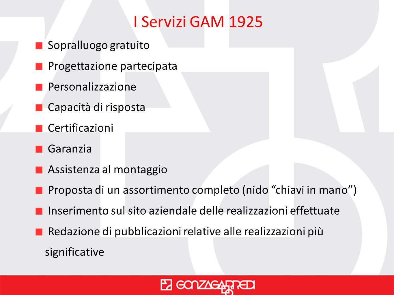 I Servizi GAM 1925 Sopralluogo gratuito Progettazione partecipata Personalizzazione Capacità di risposta Certificazioni Garanzia Assistenza al montagg