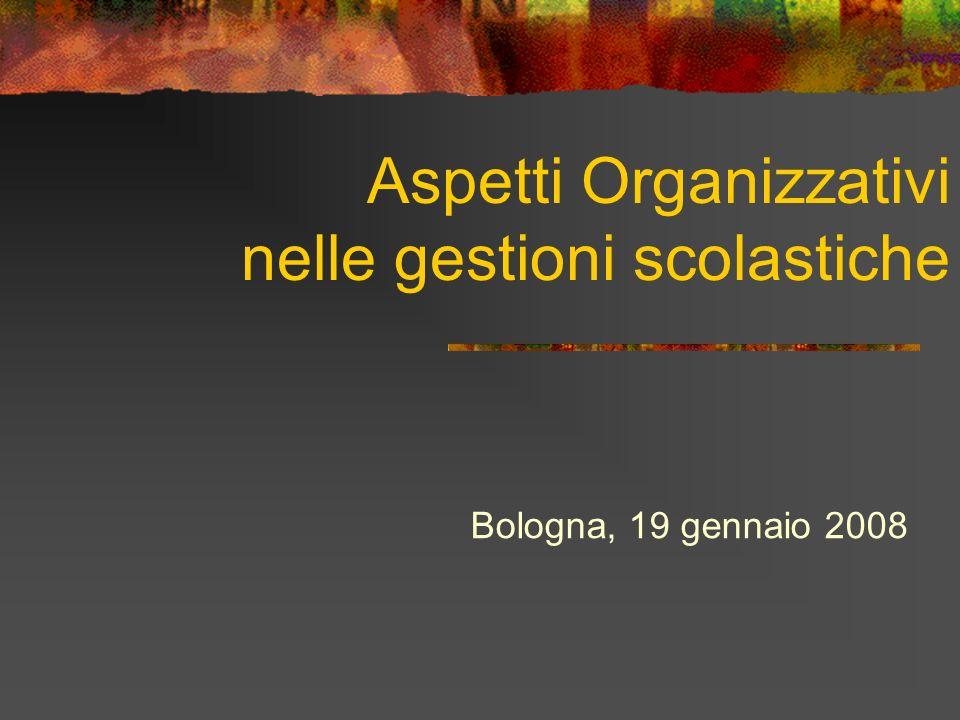Aspetti Organizzativi nelle gestioni scolastiche Bologna, 19 gennaio 2008