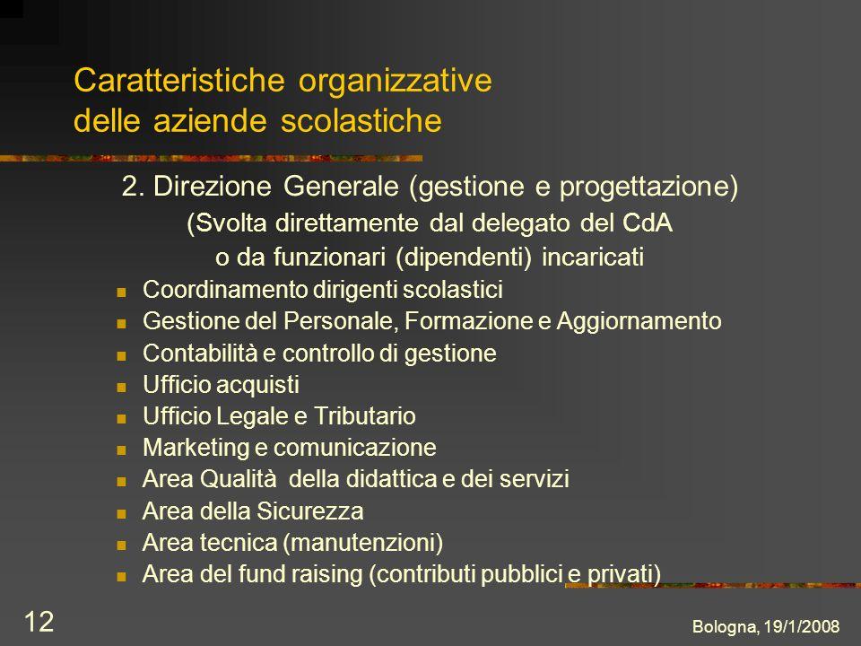 Bologna, 19/1/2008 12 Caratteristiche organizzative delle aziende scolastiche 2.