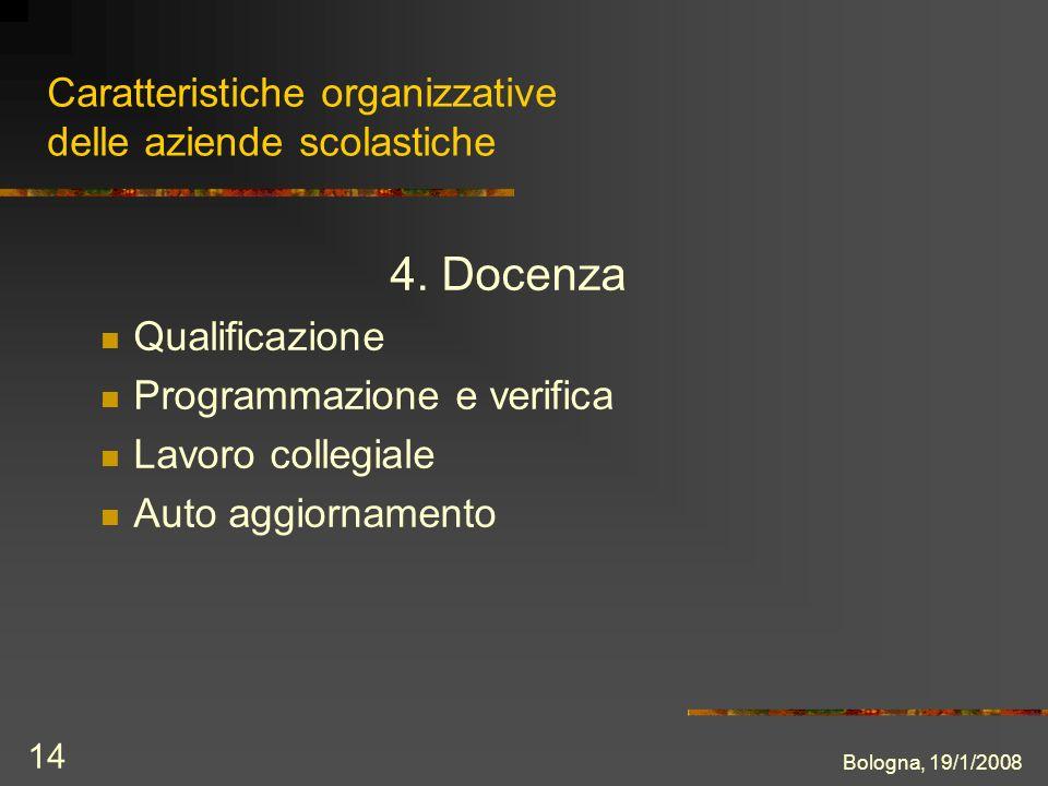 Bologna, 19/1/2008 14 Caratteristiche organizzative delle aziende scolastiche 4.