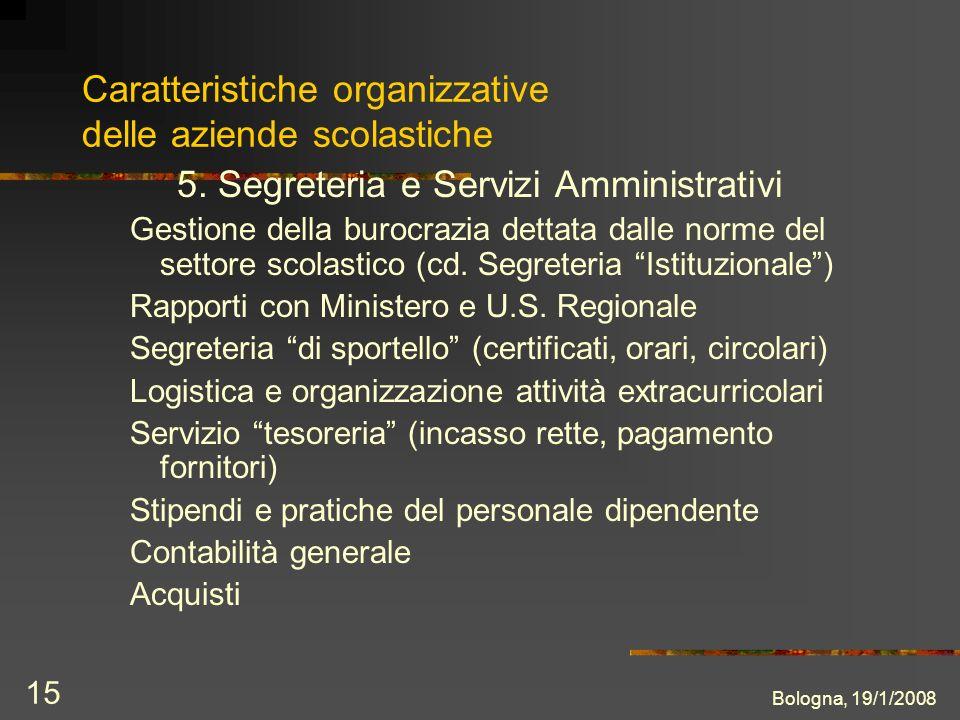 Bologna, 19/1/2008 15 Caratteristiche organizzative delle aziende scolastiche 5.