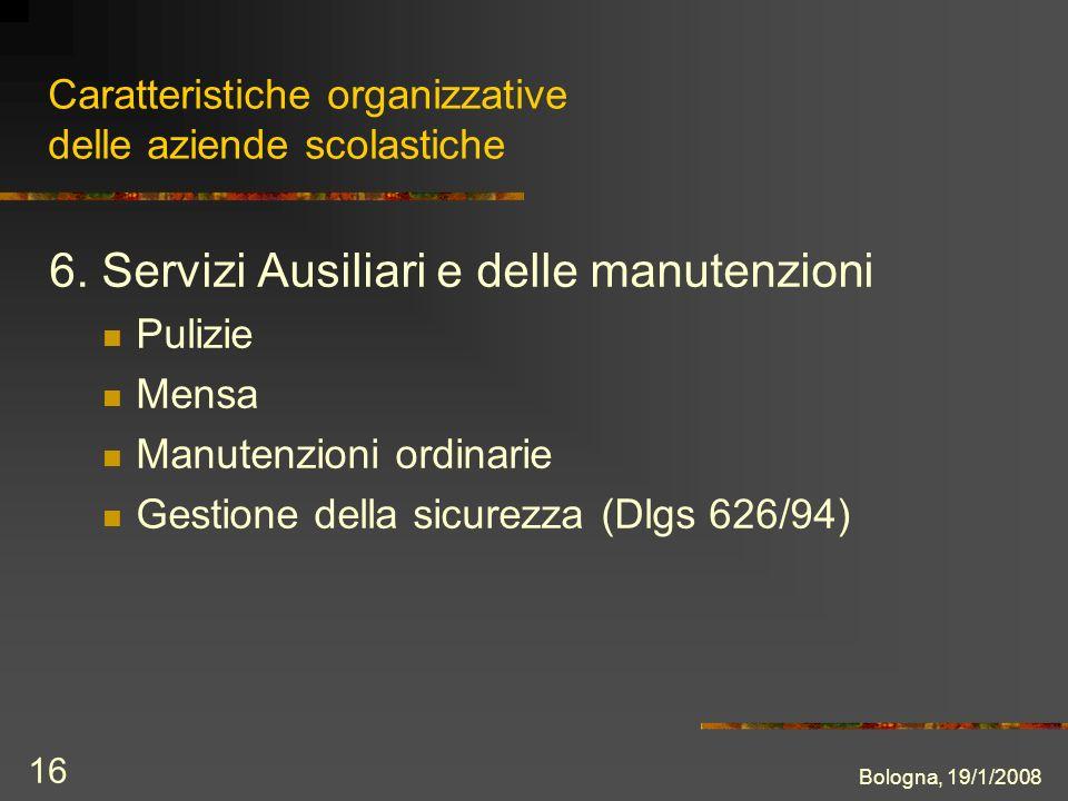 Bologna, 19/1/2008 16 Caratteristiche organizzative delle aziende scolastiche 6.