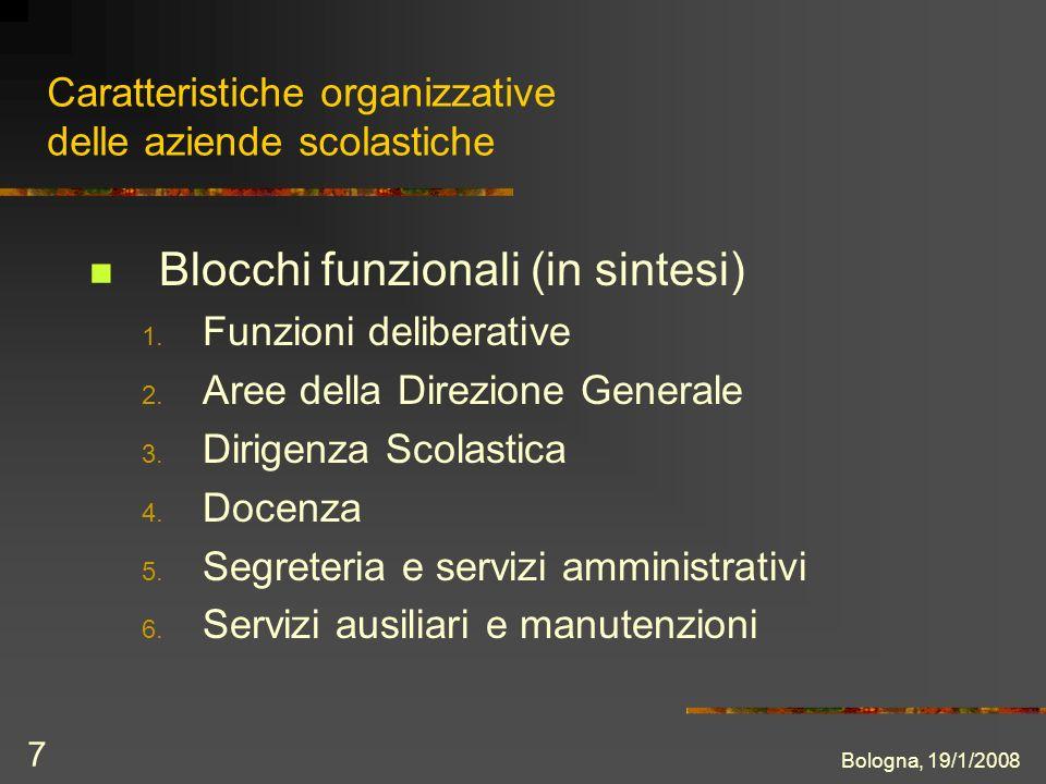 Bologna, 19/1/2008 7 Caratteristiche organizzative delle aziende scolastiche Blocchi funzionali (in sintesi) 1.