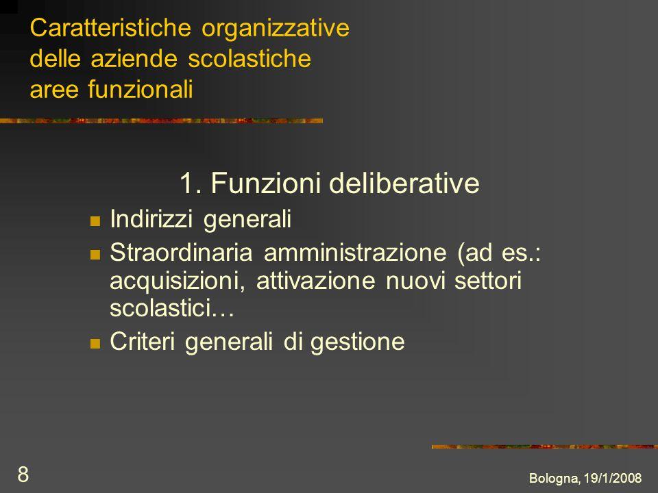 Bologna, 19/1/2008 8 Caratteristiche organizzative delle aziende scolastiche aree funzionali 1.