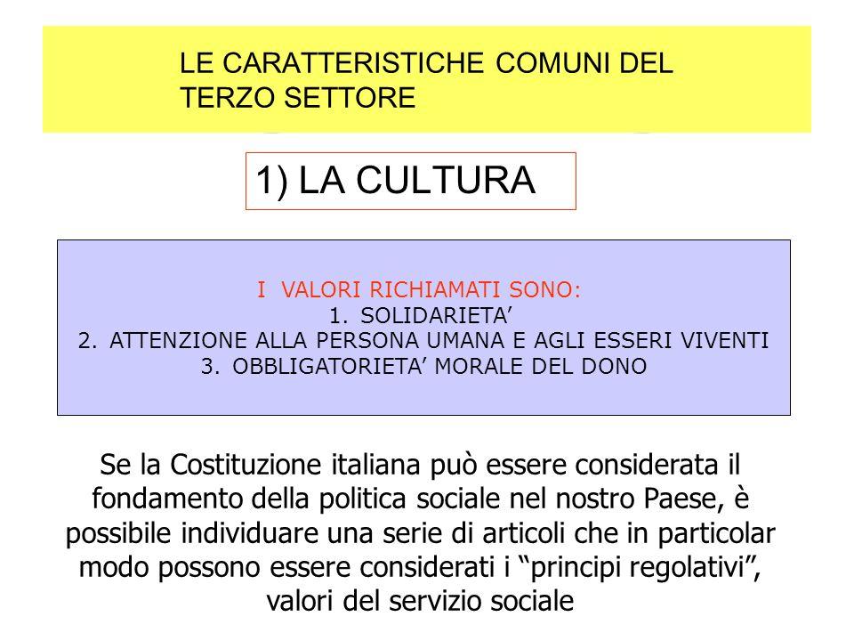 LE CARATTERISTICHE COMUNI DEL TERZO SETTORE 1) LA CULTURA I VALORI RICHIAMATI SONO: 1.SOLIDARIETA 2.ATTENZIONE ALLA PERSONA UMANA E AGLI ESSERI VIVENTI 3.OBBLIGATORIETA MORALE DEL DONO Se la Costituzione italiana può essere considerata il fondamento della politica sociale nel nostro Paese, è possibile individuare una serie di articoli che in particolar modo possono essere considerati i principi regolativi, valori del servizio sociale