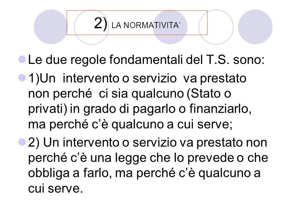 2) LA NORMATIVITA Le due regole fondamentali del T.S.