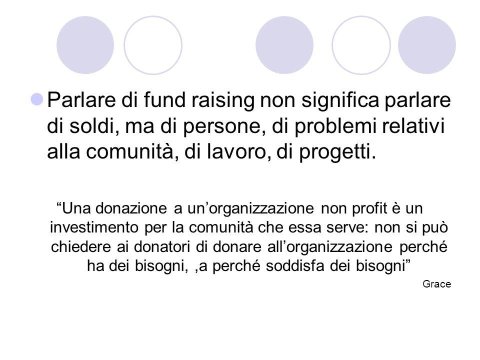 Parlare di fund raising non significa parlare di soldi, ma di persone, di problemi relativi alla comunità, di lavoro, di progetti.