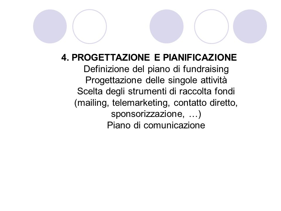 4. PROGETTAZIONE E PIANIFICAZIONE Definizione del piano di fundraising Progettazione delle singole attività Scelta degli strumenti di raccolta fondi (