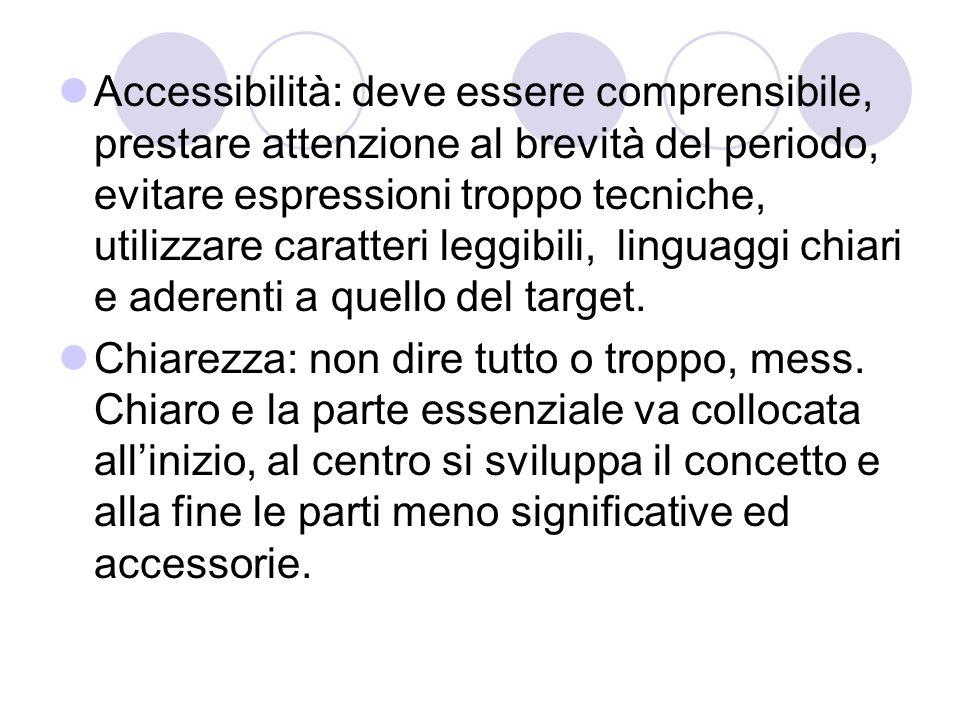 Accessibilità: deve essere comprensibile, prestare attenzione al brevità del periodo, evitare espressioni troppo tecniche, utilizzare caratteri leggibili, linguaggi chiari e aderenti a quello del target.
