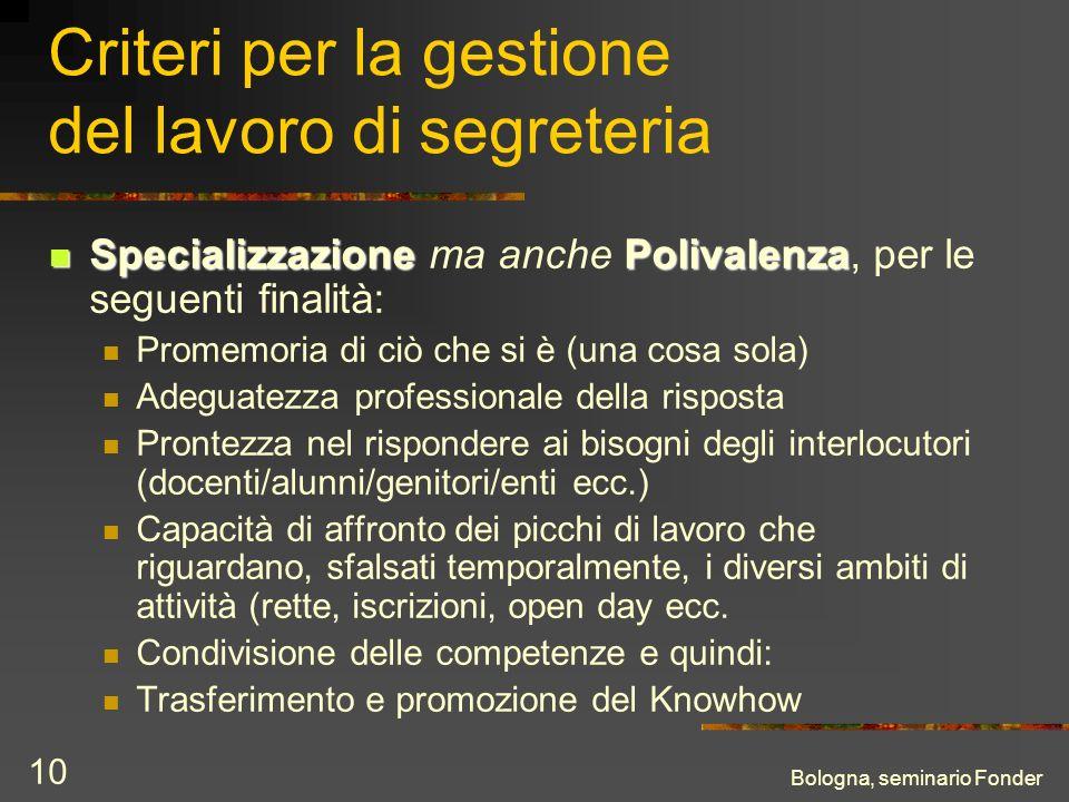 Bologna, seminario Fonder 10 Criteri per la gestione del lavoro di segreteria SpecializzazionePolivalenza Specializzazione ma anche Polivalenza, per l