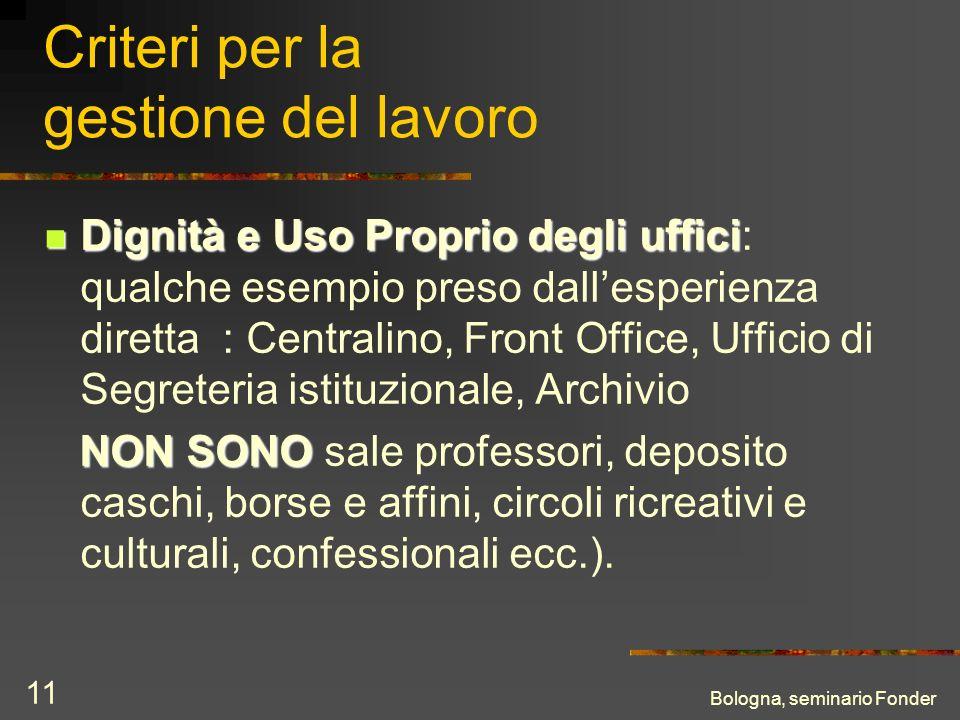 Bologna, seminario Fonder 11 Criteri per la gestione del lavoro Dignità e Uso Proprio degli uffici Dignità e Uso Proprio degli uffici: qualche esempio