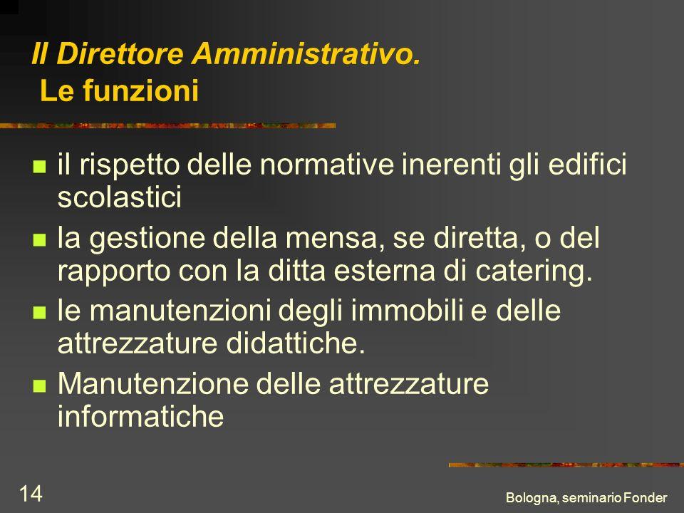 Bologna, seminario Fonder 14 Il Direttore Amministrativo. Le funzioni il rispetto delle normative inerenti gli edifici scolastici la gestione della me
