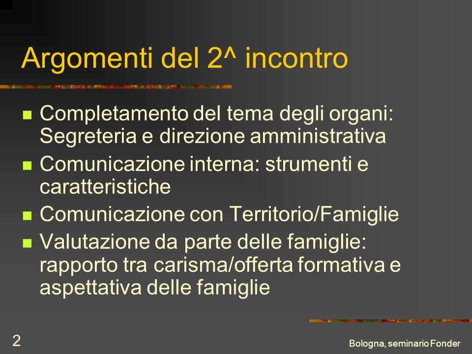 Bologna, seminario Fonder 2 Argomenti del 2^ incontro Completamento del tema degli organi: Segreteria e direzione amministrativa Comunicazione interna