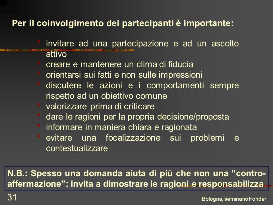 Bologna, seminario Fonder 31 Per il coinvolgimento dei partecipanti è importante: invitare ad una partecipazione e ad un ascolto attivo creare e mante