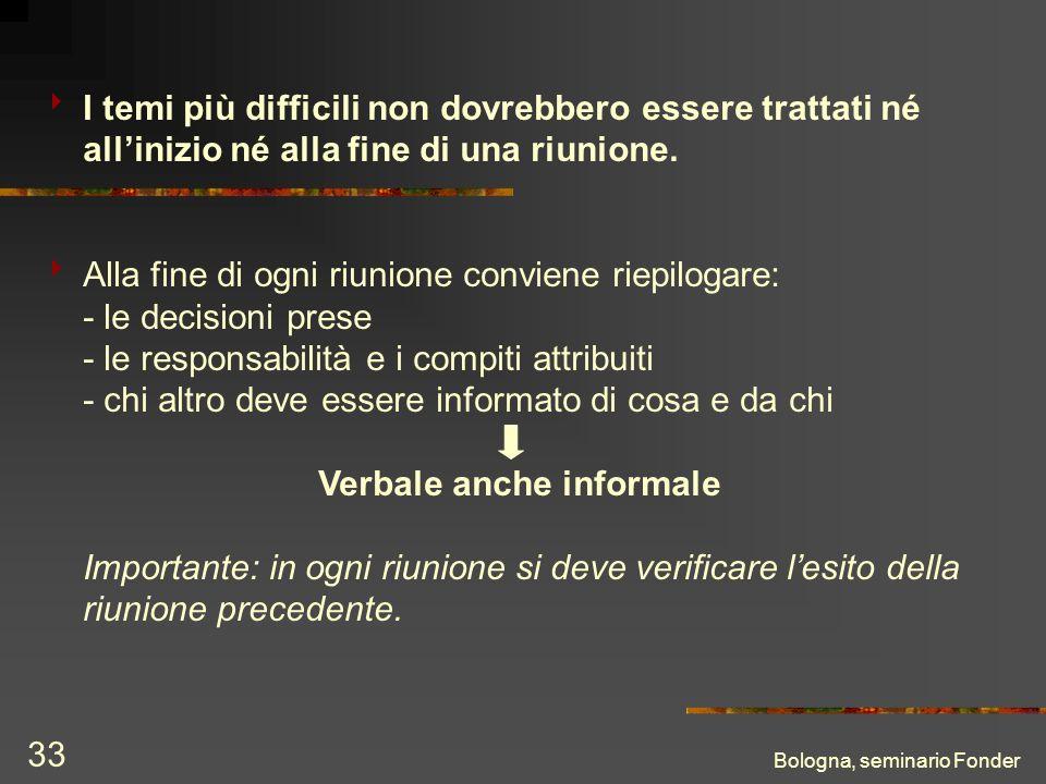 Bologna, seminario Fonder 33 I temi più difficili non dovrebbero essere trattati né allinizio né alla fine di una riunione. Alla fine di ogni riunione