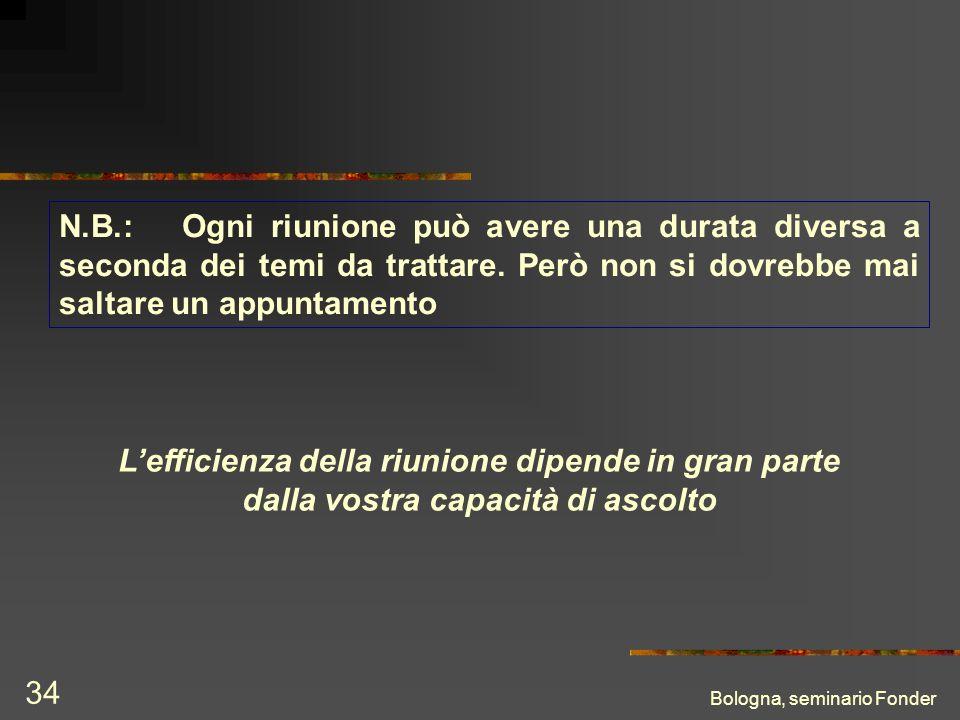 Bologna, seminario Fonder 34 Lefficienza della riunione dipende in gran parte dalla vostra capacità di ascolto N.B.: Ogni riunione può avere una durata diversa a seconda dei temi da trattare.
