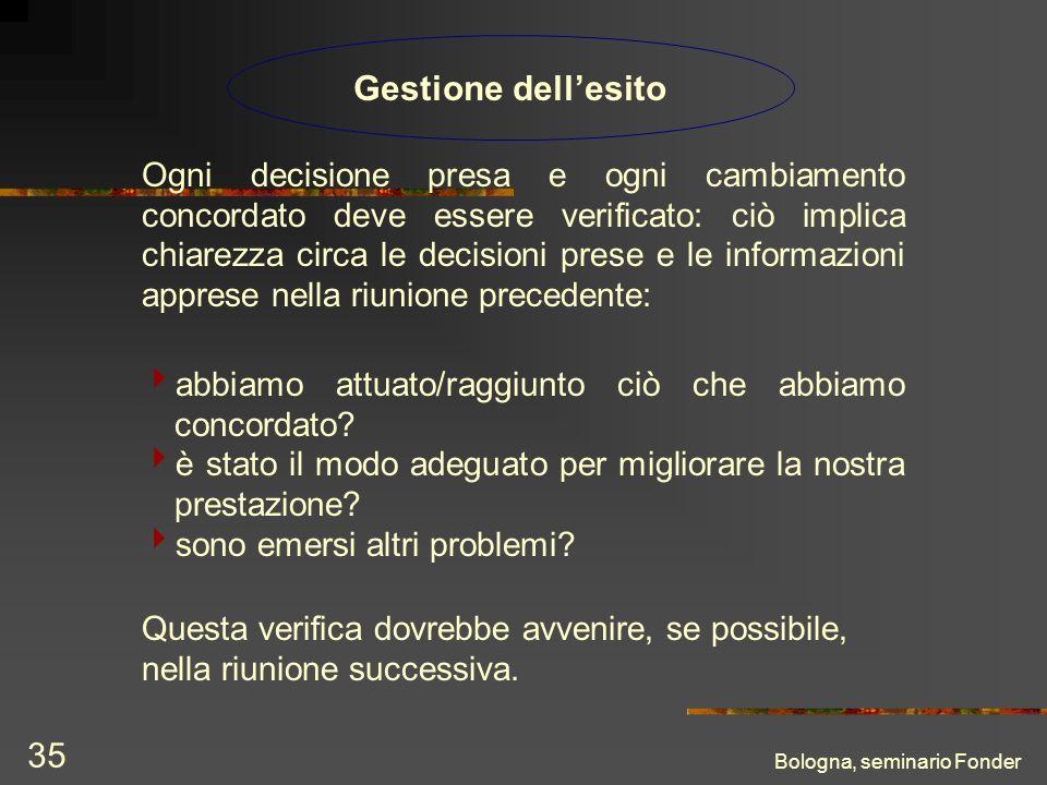 Bologna, seminario Fonder 35 Gestione dellesito Ogni decisione presa e ogni cambiamento concordato deve essere verificato: ciò implica chiarezza circa