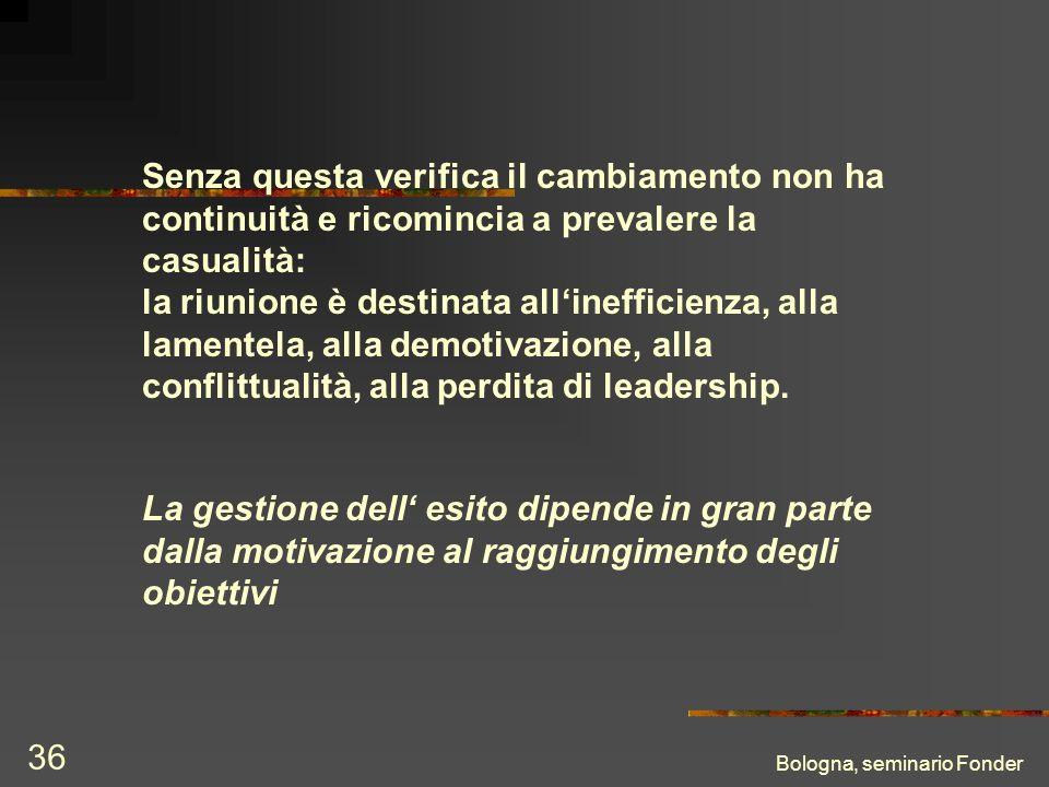 Bologna, seminario Fonder 36 Senza questa verifica il cambiamento non ha continuità e ricomincia a prevalere la casualità: la riunione è destinata allinefficienza, alla lamentela, alla demotivazione, alla conflittualità, alla perdita di leadership.