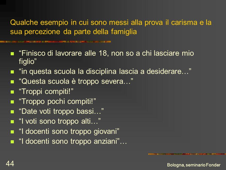 Bologna, seminario Fonder 44 Qualche esempio in cui sono messi alla prova il carisma e la sua percezione da parte della famiglia Finisco di lavorare a