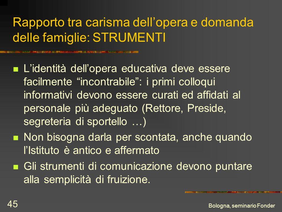 Bologna, seminario Fonder 45 Rapporto tra carisma dellopera e domanda delle famiglie: STRUMENTI Lidentità dellopera educativa deve essere facilmente i