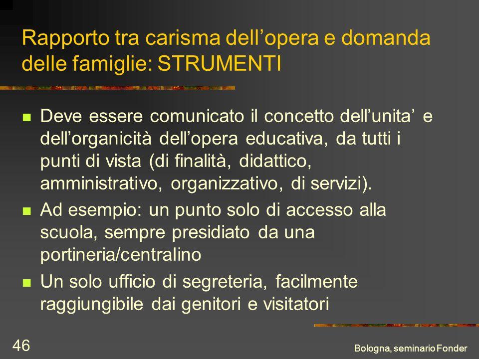 Bologna, seminario Fonder 46 Rapporto tra carisma dellopera e domanda delle famiglie: STRUMENTI Deve essere comunicato il concetto dellunita e dellorg
