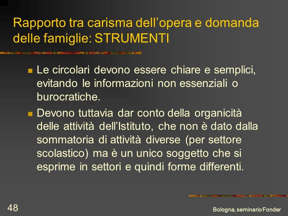 Bologna, seminario Fonder 48 Rapporto tra carisma dellopera e domanda delle famiglie: STRUMENTI Le circolari devono essere chiare e semplici, evitando le informazioni non essenziali o burocratiche.
