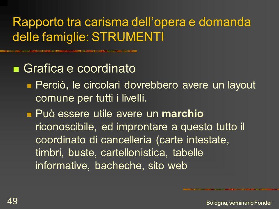 Bologna, seminario Fonder 49 Rapporto tra carisma dellopera e domanda delle famiglie: STRUMENTI Grafica e coordinato Perciò, le circolari dovrebbero avere un layout comune per tutti i livelli.