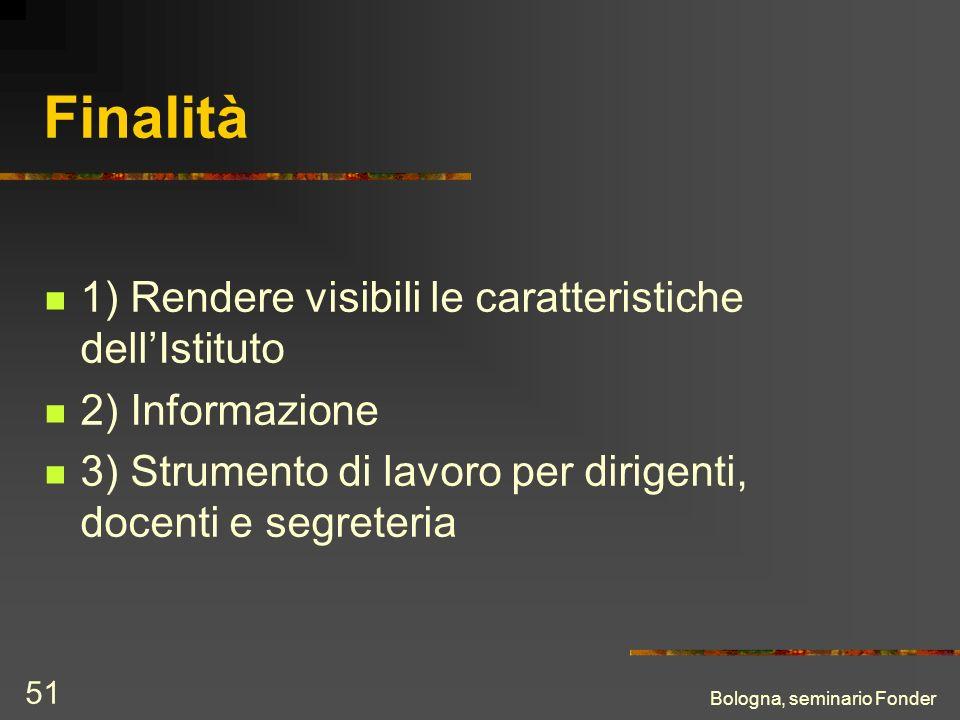 Bologna, seminario Fonder 51 Finalità 1) Rendere visibili le caratteristiche dellIstituto 2) Informazione 3) Strumento di lavoro per dirigenti, docent