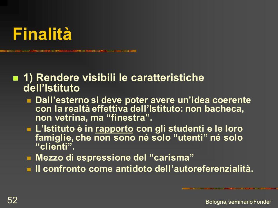 Bologna, seminario Fonder 52 Finalità 1) Rendere visibili le caratteristiche dellIstituto Dallesterno si deve poter avere unidea coerente con la realt