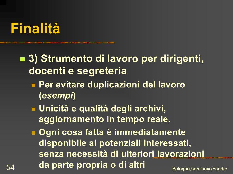 Bologna, seminario Fonder 54 Finalità 3) Strumento di lavoro per dirigenti, docenti e segreteria Per evitare duplicazioni del lavoro (esempi) Unicità e qualità degli archivi, aggiornamento in tempo reale.