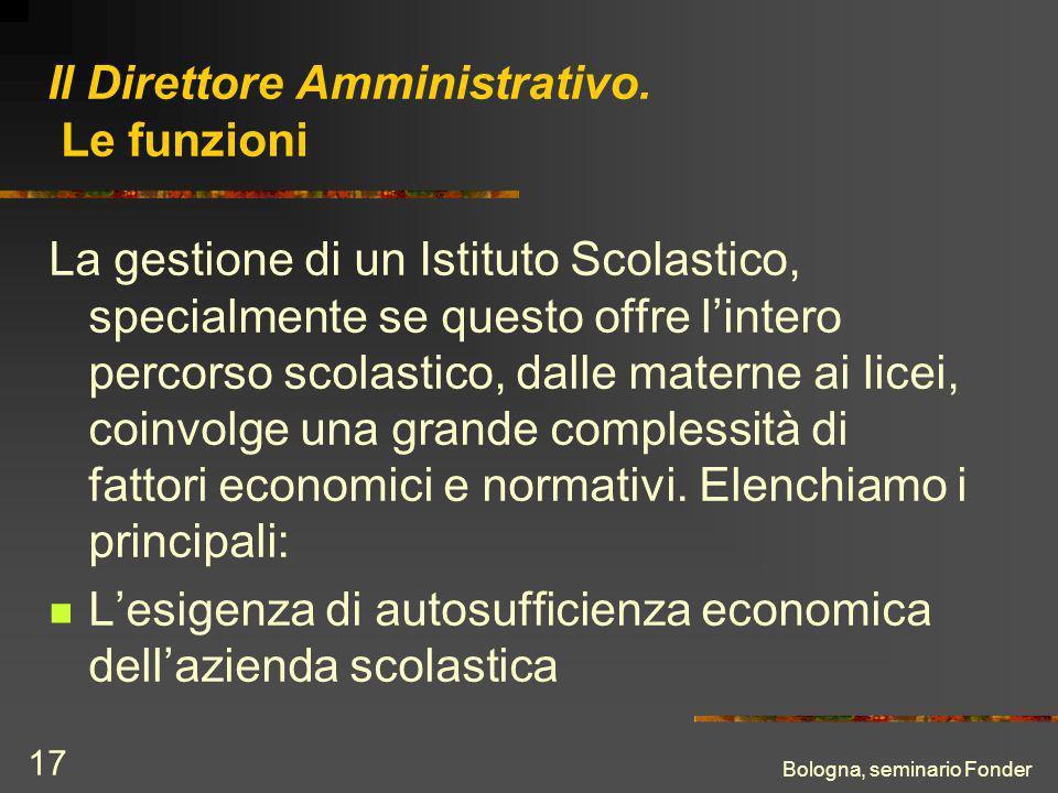 Bologna, seminario Fonder 17 Il Direttore Amministrativo.