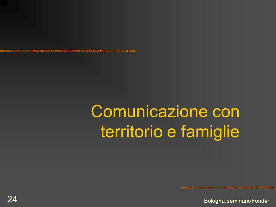 Bologna, seminario Fonder 24 Comunicazione con territorio e famiglie