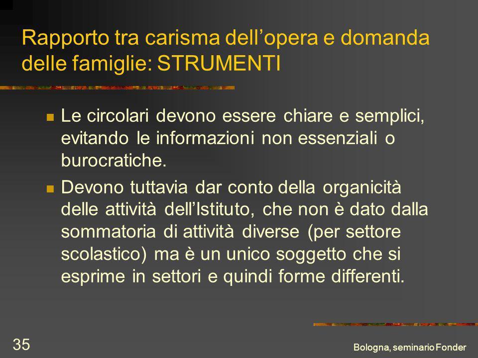 Bologna, seminario Fonder 35 Rapporto tra carisma dellopera e domanda delle famiglie: STRUMENTI Le circolari devono essere chiare e semplici, evitando le informazioni non essenziali o burocratiche.