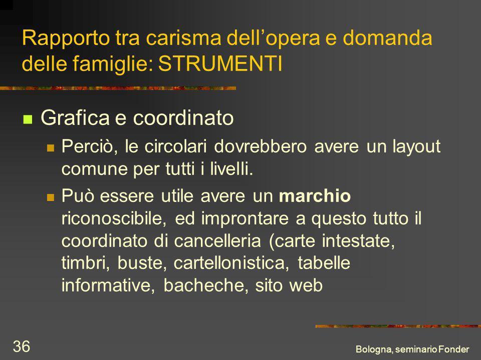 Bologna, seminario Fonder 36 Rapporto tra carisma dellopera e domanda delle famiglie: STRUMENTI Grafica e coordinato Perciò, le circolari dovrebbero avere un layout comune per tutti i livelli.
