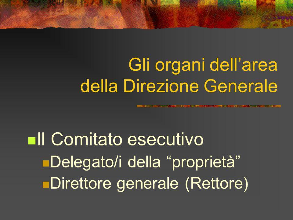 Gli organi dellarea della Direzione Generale Il Comitato esecutivo Delegato/i della proprietà Direttore generale (Rettore)