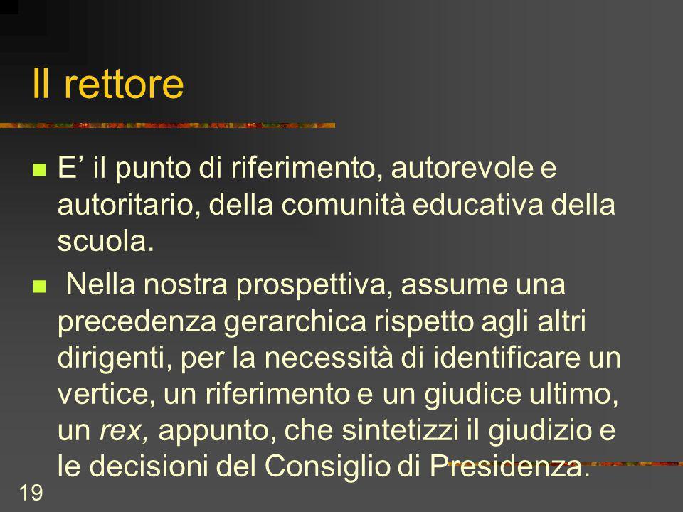 19 Il rettore E il punto di riferimento, autorevole e autoritario, della comunità educativa della scuola.