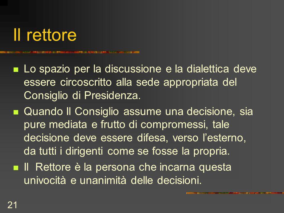 21 Il rettore Lo spazio per la discussione e la dialettica deve essere circoscritto alla sede appropriata del Consiglio di Presidenza.