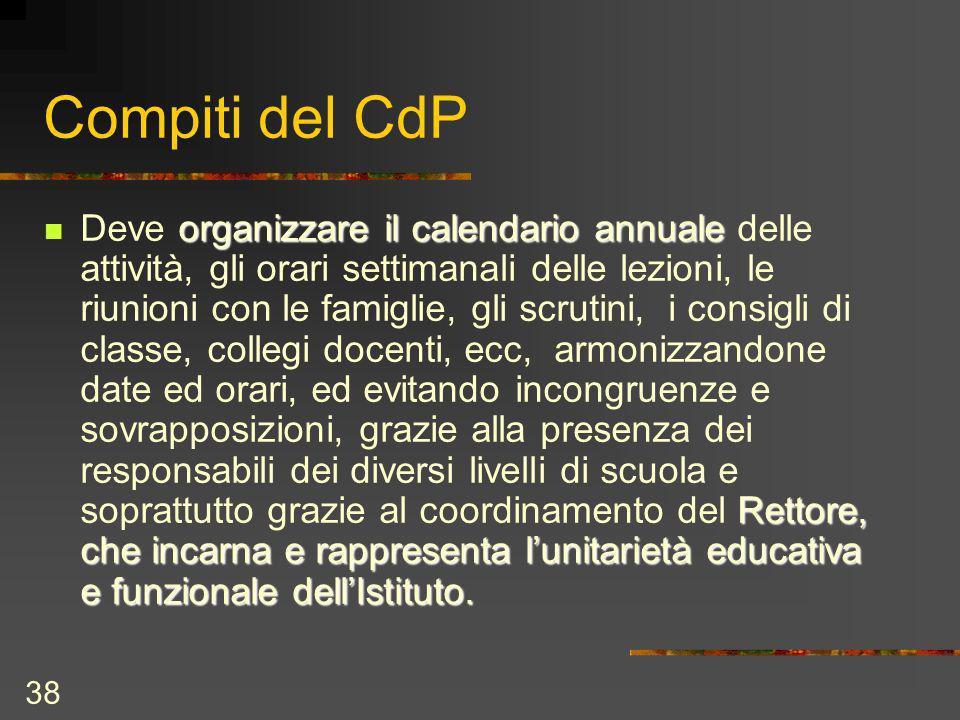 38 Compiti del CdP organizzare il calendario annuale Rettore, che incarna e rappresenta lunitarietà educativa e funzionale dellIstituto.