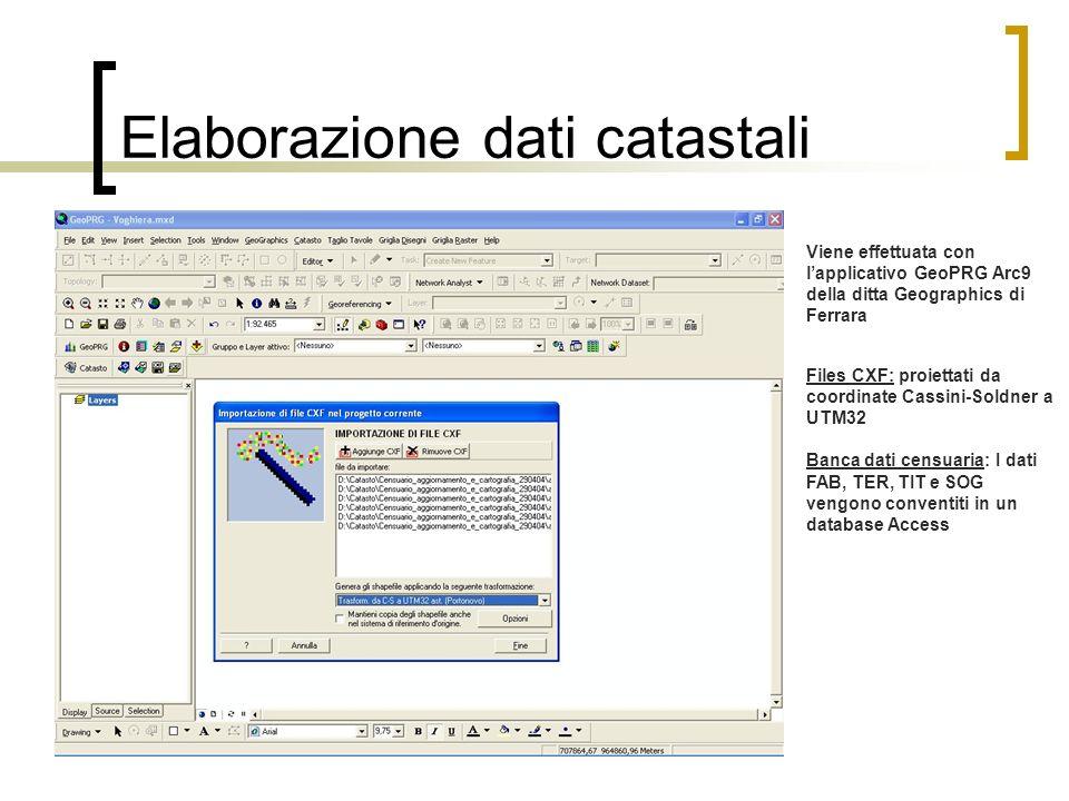 Elaborazione dati catastali Viene effettuata con lapplicativo GeoPRG Arc9 della ditta Geographics di Ferrara Files CXF: proiettati da coordinate Cassi