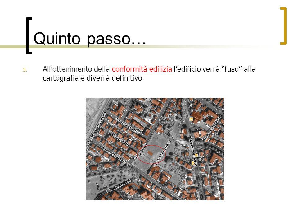 Quinto passo… 5. Allottenimento della conformità edilizia ledificio verrà fuso alla cartografia e diverrà definitivo