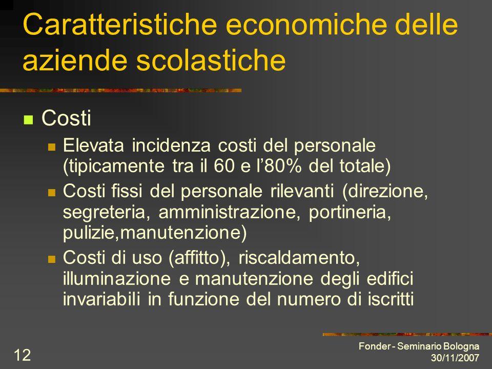 Fonder - Seminario Bologna 30/11/2007 12 Caratteristiche economiche delle aziende scolastiche Costi Elevata incidenza costi del personale (tipicamente