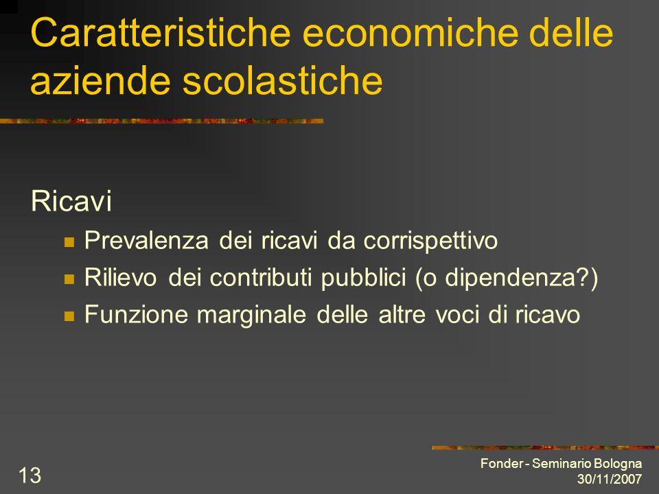 Fonder - Seminario Bologna 30/11/2007 13 Caratteristiche economiche delle aziende scolastiche Ricavi Prevalenza dei ricavi da corrispettivo Rilievo dei contributi pubblici (o dipendenza ) Funzione marginale delle altre voci di ricavo