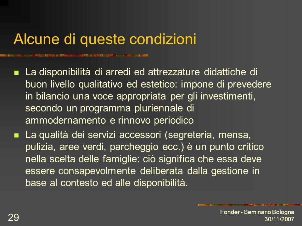 Fonder - Seminario Bologna 30/11/2007 29 Alcune di queste condizioni La disponibilità di arredi ed attrezzature didattiche di buon livello qualitativo