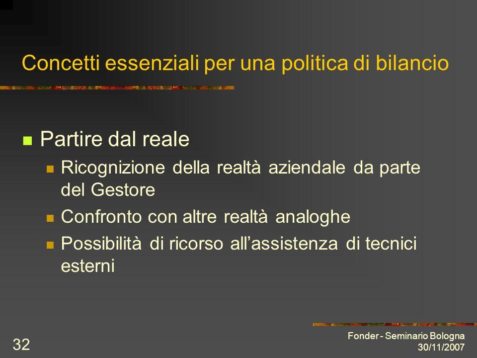 Fonder - Seminario Bologna 30/11/2007 32 Concetti essenziali per una politica di bilancio Partire dal reale Ricognizione della realtà aziendale da parte del Gestore Confronto con altre realtà analoghe Possibilità di ricorso allassistenza di tecnici esterni